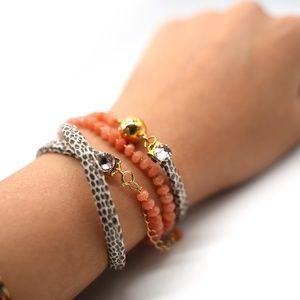 CatstoneNYC Agate Orange Beaded Crystal Bracelet